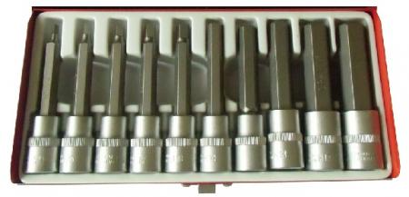 "10pcs 1/2"" Dr. Hex Sockets Bit Set-Metric"