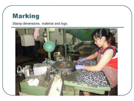 Marking: Stamp dimensions, material and logo.