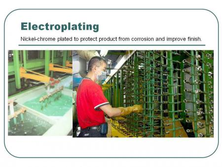 Electroplating: Nickel-chrome plated to protect product from corrosion and improve finish.