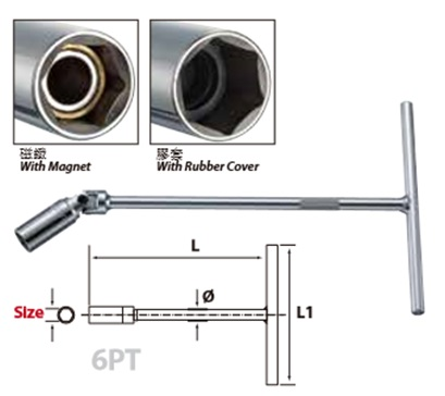 T-Handle Universal Type, Spark Plug Socket Wrench