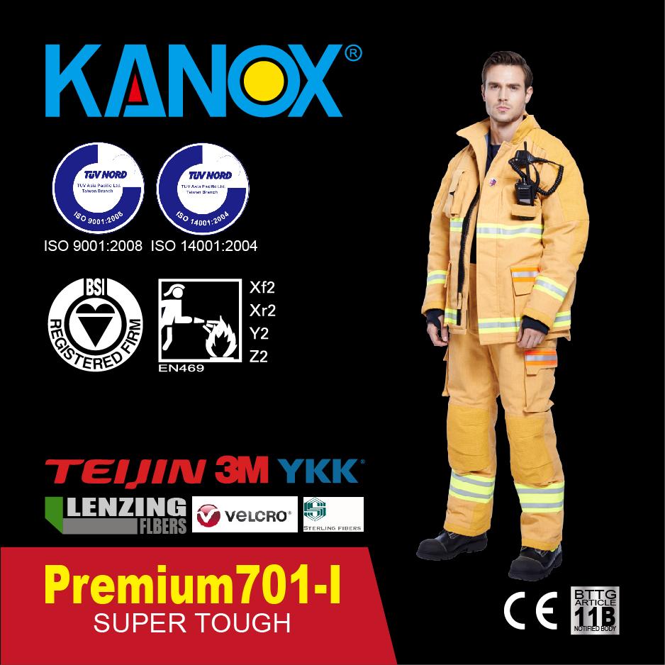 Inteligentny kombinezon strażacki Premium 701 RFID, EN469 poziom 2