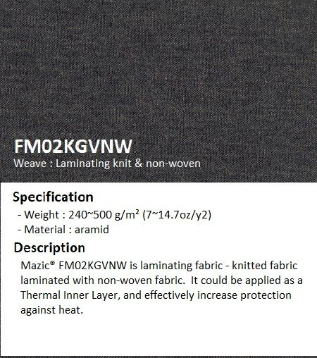 Thermal inner lining in the form of knitted laminated non-woven at weight 500gsm