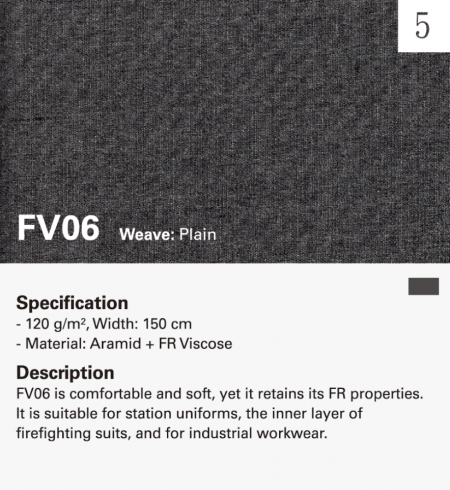 Inherently Fire Resistant plain weave facecloth for inner lining