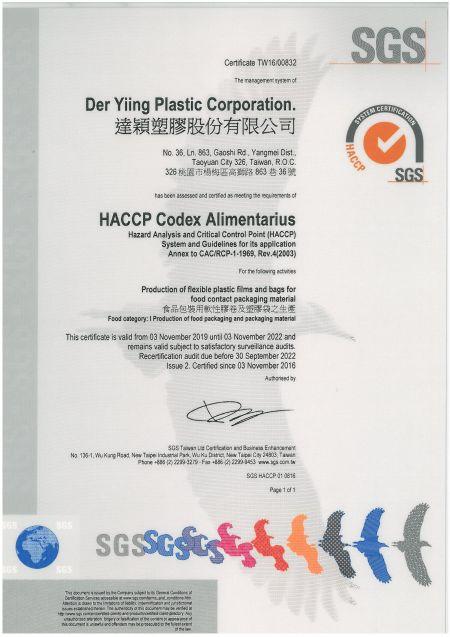 HACCP 食品安全衛生管理系統
