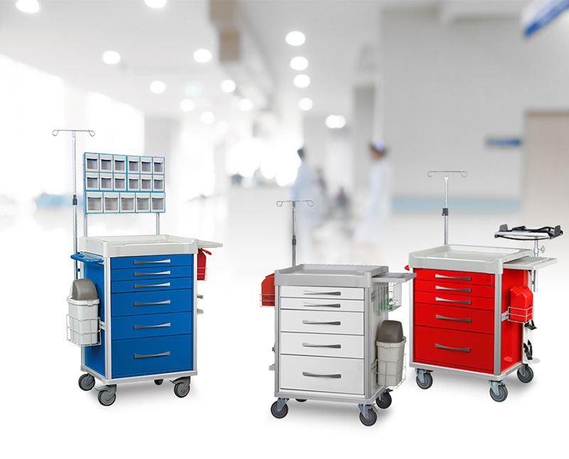 Medical cart provides a good storage capacity to keep your equipment secure at all times.