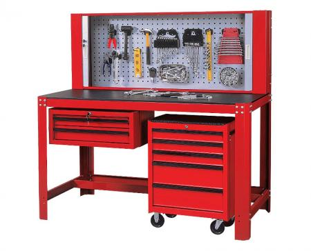 Workstation / Workbench - Workbench with Back Roller Cabinet and Tool Storage.
