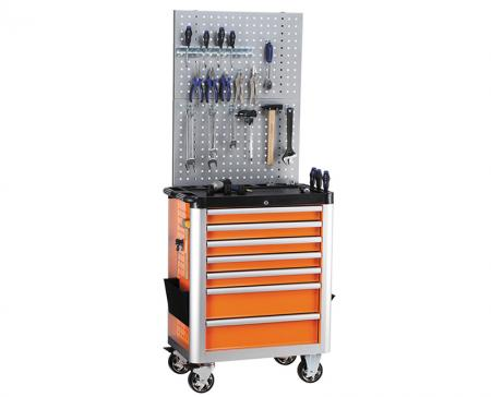 Customizable Tool Storage - Tool Trolley with Aluminum Side Bumper and Back Perforated Panel.