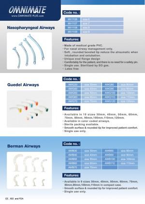 Nasopharyngeal Airways, Guedel Airways, Berman Airways