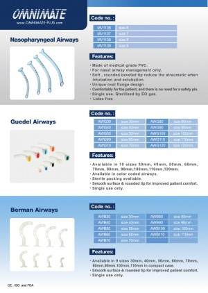 Nasopharyngeal Airways, Guedel Airways, Berman Airways
