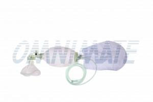 Silikonowa torba Ambu + zawór upustowy + maska z poduszką powietrzną # 5-1600 ml - Silikonowy resuscytator dla dorosłych wielokrotnego użytku + maska z poduszką powietrzną # 5 - 1600ml