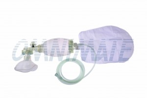 Silikonowy worek Ambu + maska na poduszkę powietrzną # 3 - 550 ml - Resuscytator silikonowy dla dzieci wielokrotnego użytku + maska na poduszkę powietrzną # 3 - 550 ml