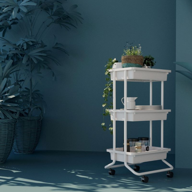 3-Tier Rolling Cart, Tray with venting
