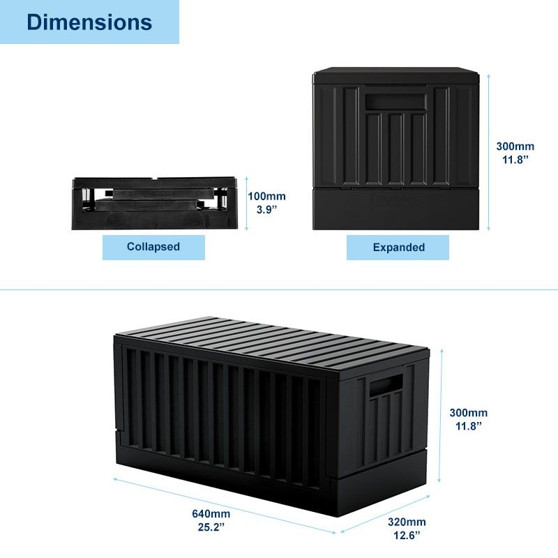 Dimension of big collapsible storage box