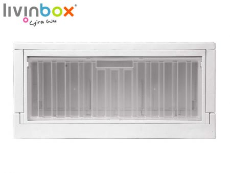 livinbox collapsible storage box with clear side-open door