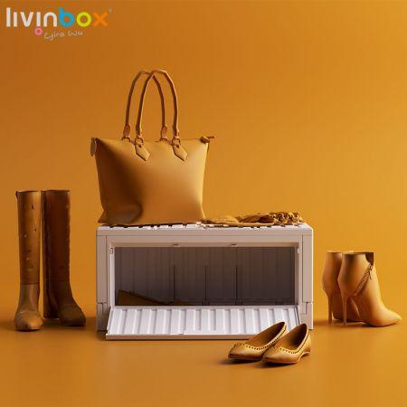 livinbox plastic collapsible storage box with side-open door