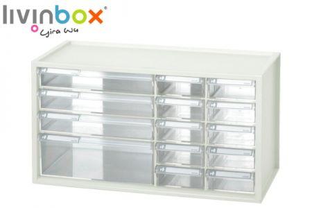 Large plastic desktop storage with 14 drawers - Large plastic desktop organizer with 14 drawers