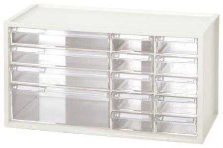 Desktop Stationery Organizer with 14 Assorted Drawers - 14-drawer stackable craft organizer in white.