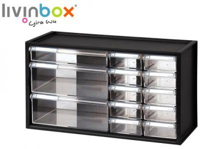 Large plastic desktop storage with 13 drawers - Large plastic desktop organizer with 13 drawers