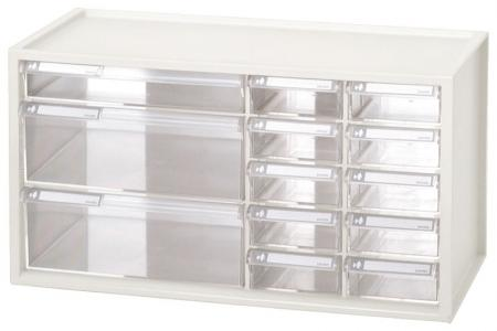 Desktop Stationery Organizer with 13 Assorted Drawers - Craft storage box with 13 drawers in white.