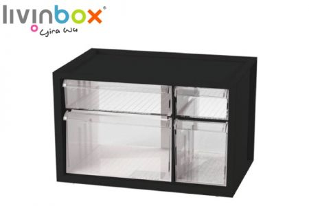 Small plastic desktop storage with 4 drawers - Small plastic desktop organizer with 4 drawers