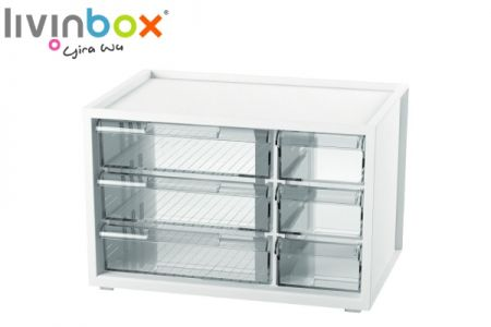 Small plastic desktop storage with 6 drawers - Small plastic desktop organizer with 6 drawers