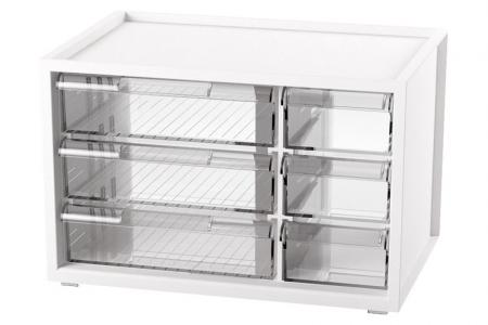 Desktop Stationery Organizer with 6 Assorted Drawers - Stackable item organizer with 6 drawers in white.