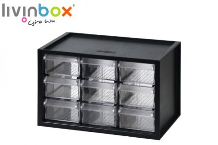 Small plastic desktop storage with 9 drawers - Small plastic desktop organizer with 9 drawers