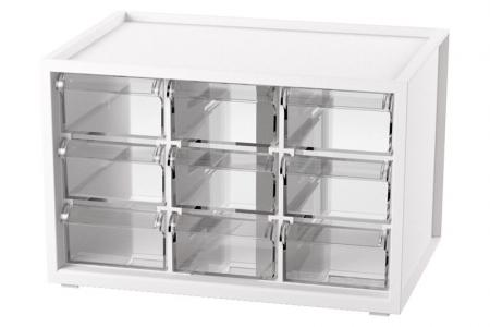 Desktop Stationery Organizer with 9 Matching Drawers - Vertical or horizontal stack hobby and craft storage set with 9 drawers in white.