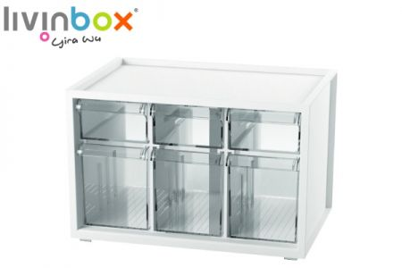Small plastic desktop storage with 6 mixed drawers - Small plastic desktop organizer with 6 mixed drawers