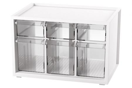 Desktop Stationery Organizer with 6 Assorted Drawers - Desktop drawers for pens, paints, and paper in white (with 6 assorted drawers).