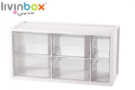 Middle plastic desktop storage with 6 drawers - Middle plastic desktop organizer with 6 drawers