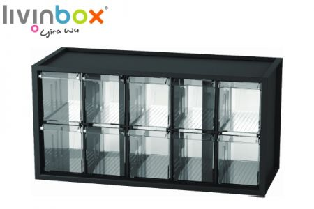 Middle plastic desktop storage with 10 drawers - Middle plastic desktop organizer with 10 drawers