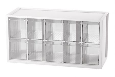 Desktop Stationery Organizer with 10 Matching Drawers - Storage with 10 pull-out drawers for small items in white.