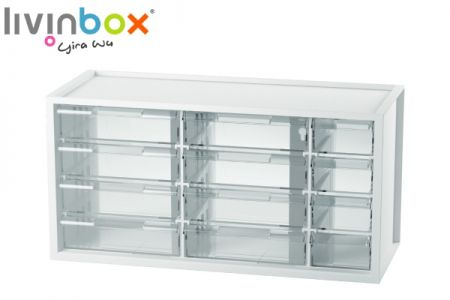 Middle plastic desktop storage with 12 drawers - Middle plastic desktop organizer with 12 drawers