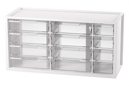 Desktop Stationery Organizer with 12 Assorted Drawers - On-desk 12-drawer unit for small parts storage in white.