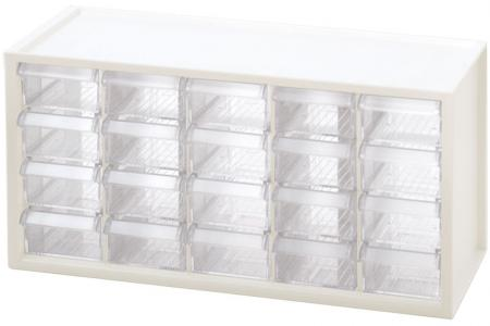 Desktop Stationery Organizer with 20 Matching Drawers - Stackable, wall-mountable 20-drawer storage system in white.