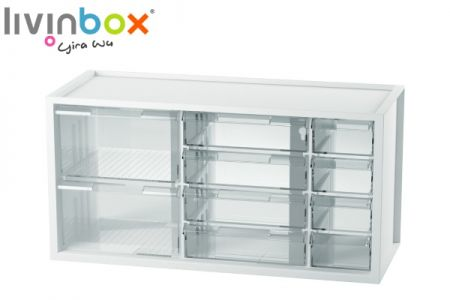 Middle plastic desktop storage with 10 mixed drawers - Middle plastic desktop organizer with 10 mixed drawers