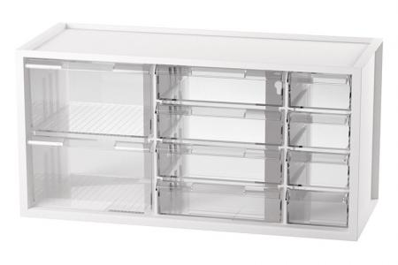 Desktop Stationery Organizer with 10 Assorted Drawers - Cabinet with 10 drawers for small item storage in white.