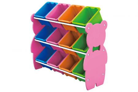 Teddy Bear Toy Tower with 12 Bins - Teddy bear toy tower with 12 bins.