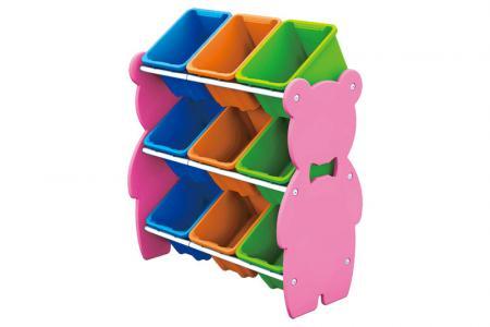Tour de jouets ours en peluche avec 9 bacs - Tour de jouet ours en peluche avec 9 bacs.