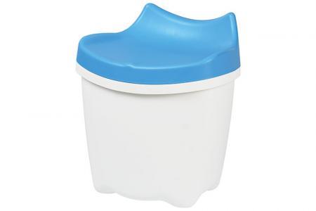 Tabouret Sit & Store pour enfants LaChatte - Volume de 16 litres - Joli meuble de rangement LaChatte pour enfants en bleu.