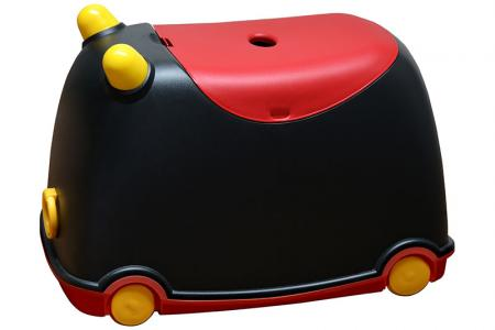 BuBu Moveable Storage Bin on Wheels - 25 Liter Volume - Tow-along BuBu moveable toy storage bin for children in black and red.