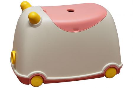 Tow-along BuBu moveable toy storage bin for children in pink.