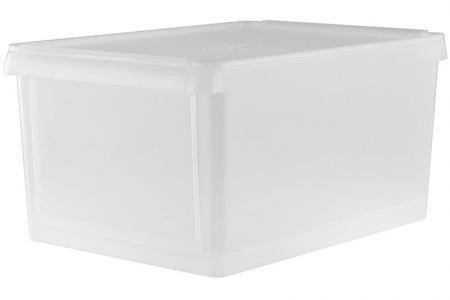 13L drop-down door storage box in clear.