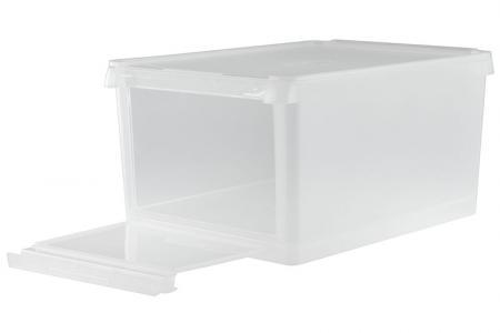 13L drop-down door storage box in crystal clear.