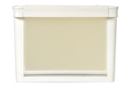13L drop-down door storage box in white.