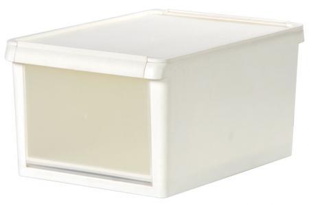 13L drop-down door storage box in pure white.