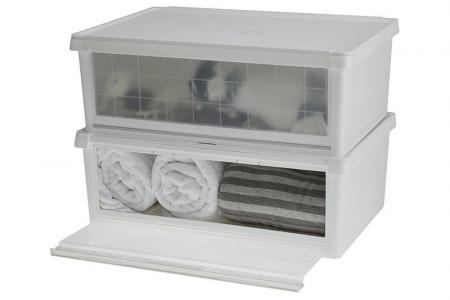 All kinds of home goods fit inside a livinbox drop-down door storage box.