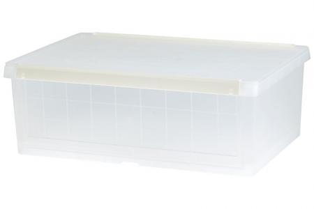 Drop-down door storage box in clear.