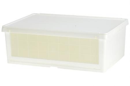 Drop-down door storage box in white.